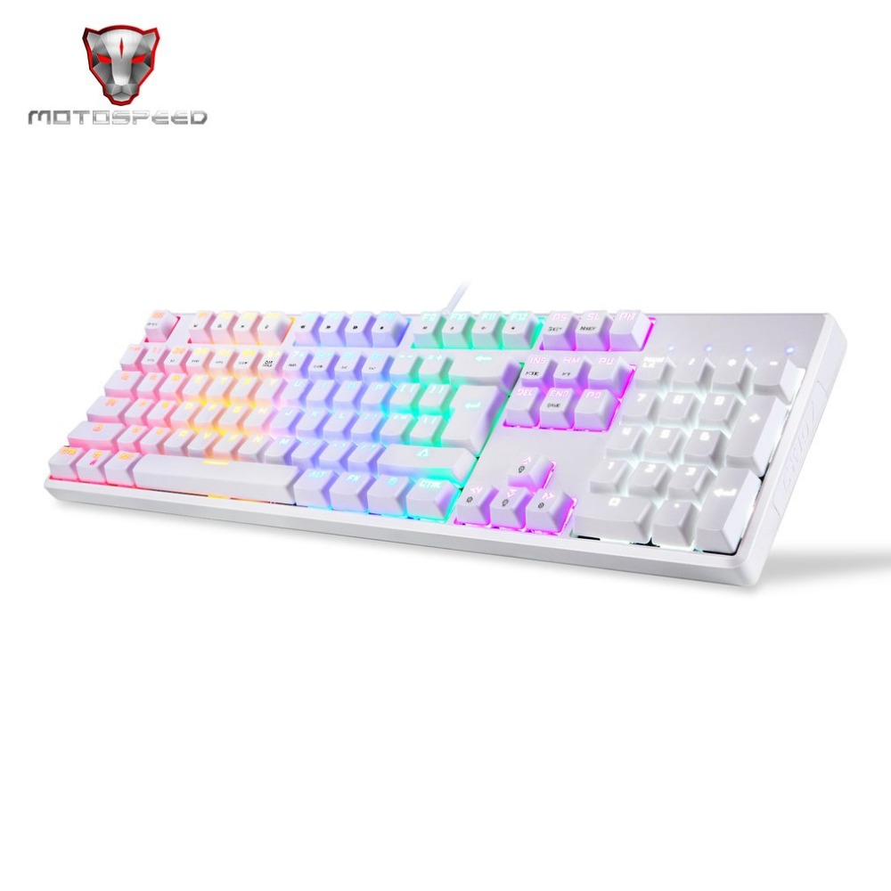 цена на Motospeed CK96 Game Keyboard Wired Full 104 Key Mechanical Keyboard for Gamers PC Laptop 9 LED Light Color with LED Backlight
