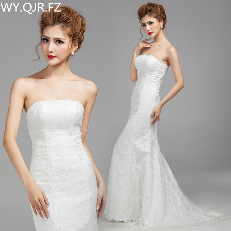 DM2670TWB#Spring Summer New Fishtail Sexy Slim White Bridesmaid Dresses Long Bridal Wedding Party Dress 2018 Prom Gown Wholesale