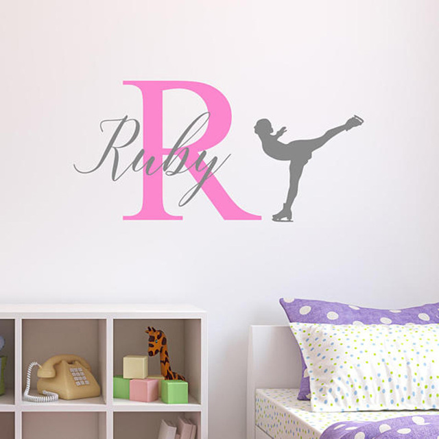 personalised ice skating wall sticker custom name wall decal for