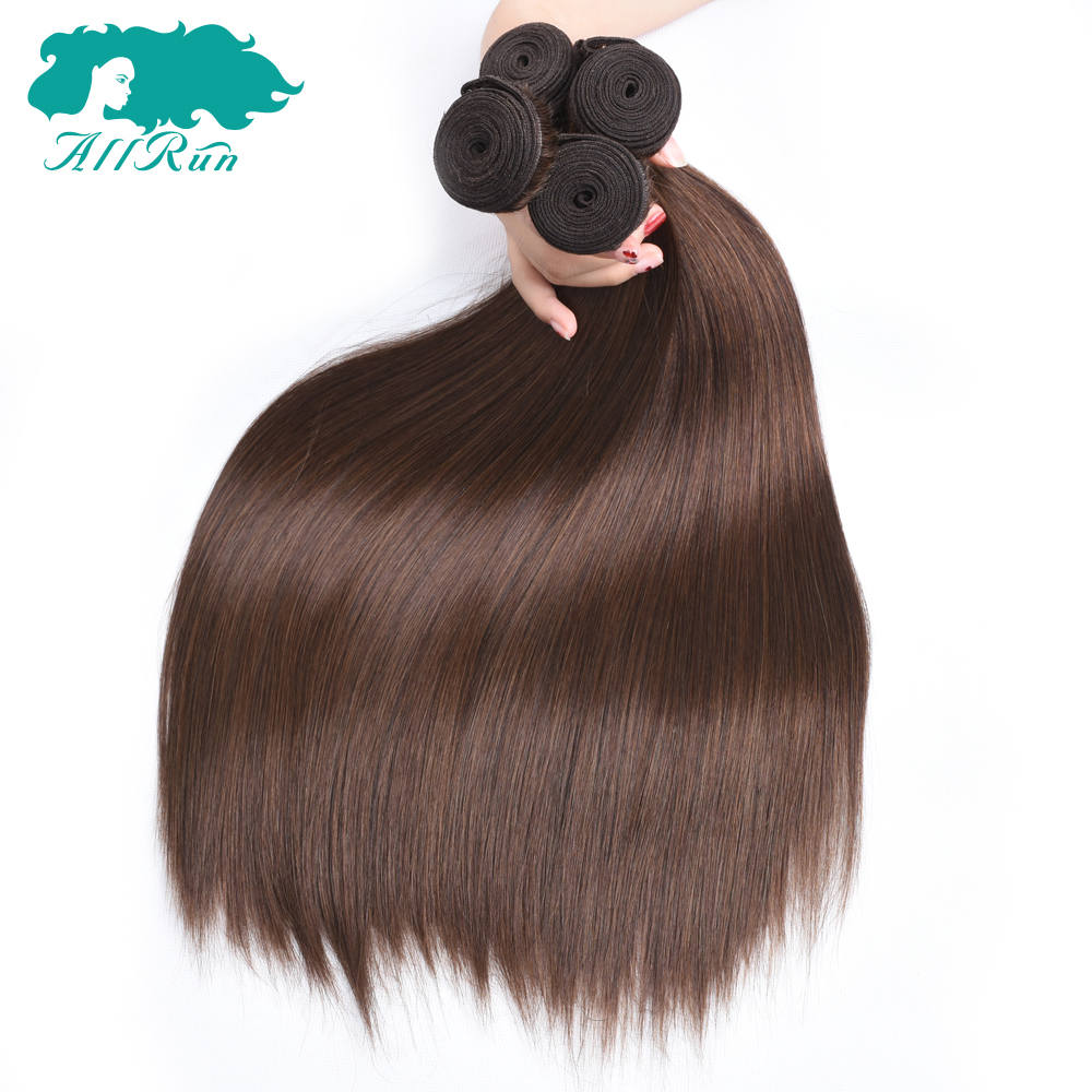 Hair-Bundles Weave Human-Hair-Extensions Non-Remy-Hair Brown Straight Peruvian Double