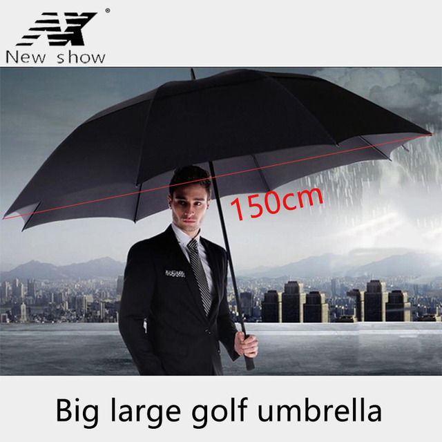 Guarda chuva grande masculino nx, guarda chuva longo com camada dupla 145cm a 150cm para homens negócios
