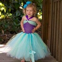 Ariel Inspired Princess Girls Dress Little Mermaid Inspired Birthday Party Dress for Kids Girl Purple Girls Tutu Dress PT227