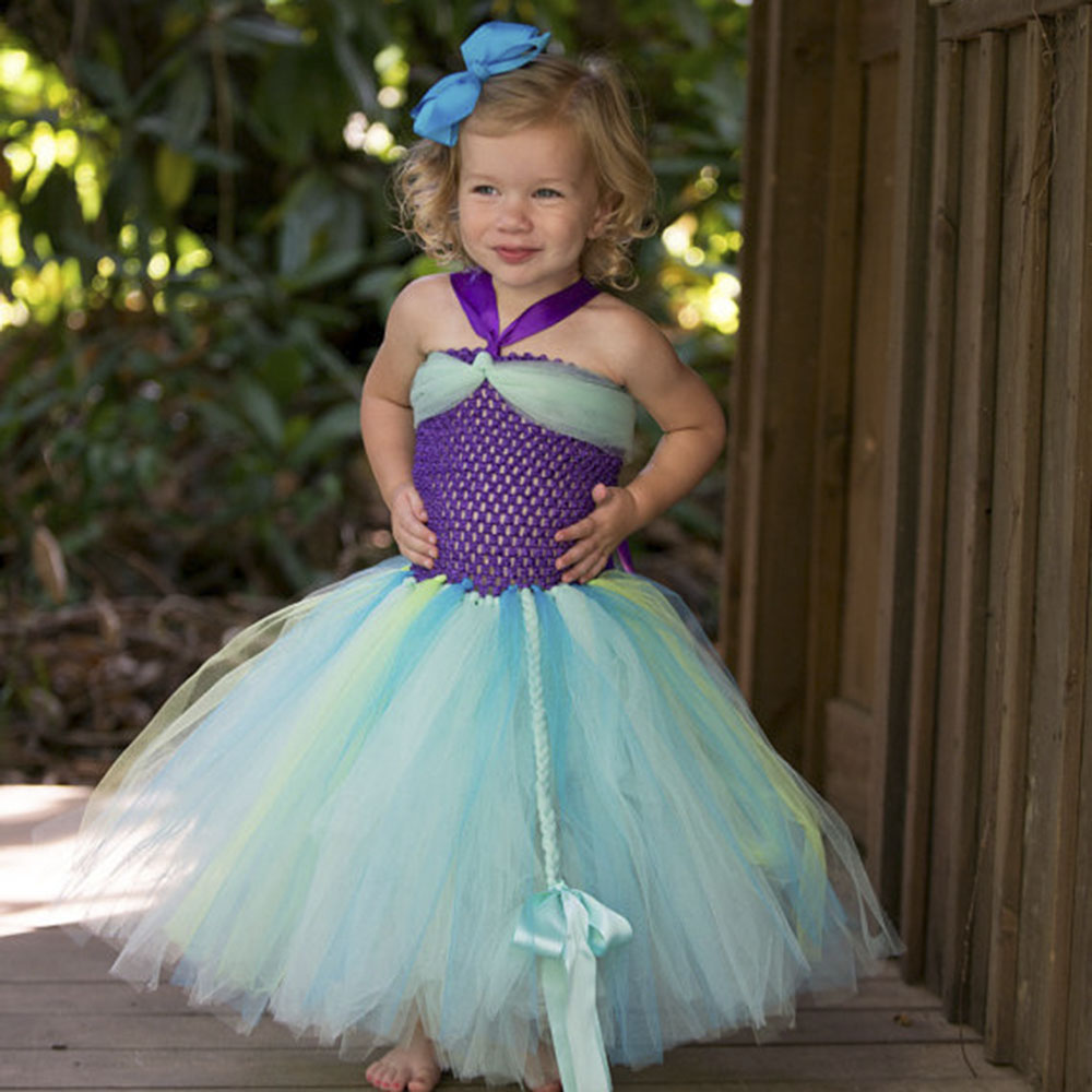Little Kid Birthday Party Us 29 68 Ariel Inspired Princess Girls Dress Little Mermaid Inspired Birthday Party Dress For Kids Girl Purple Girls Tutu Dress Pt227 In Dresses