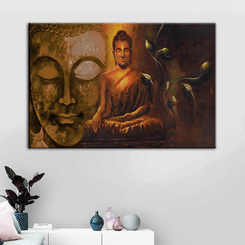 Modular Pictures Canvas Prints Buddha Portrait Painting Lotus Wall Art Poster Home Decoration For Living Room Framework Artwork