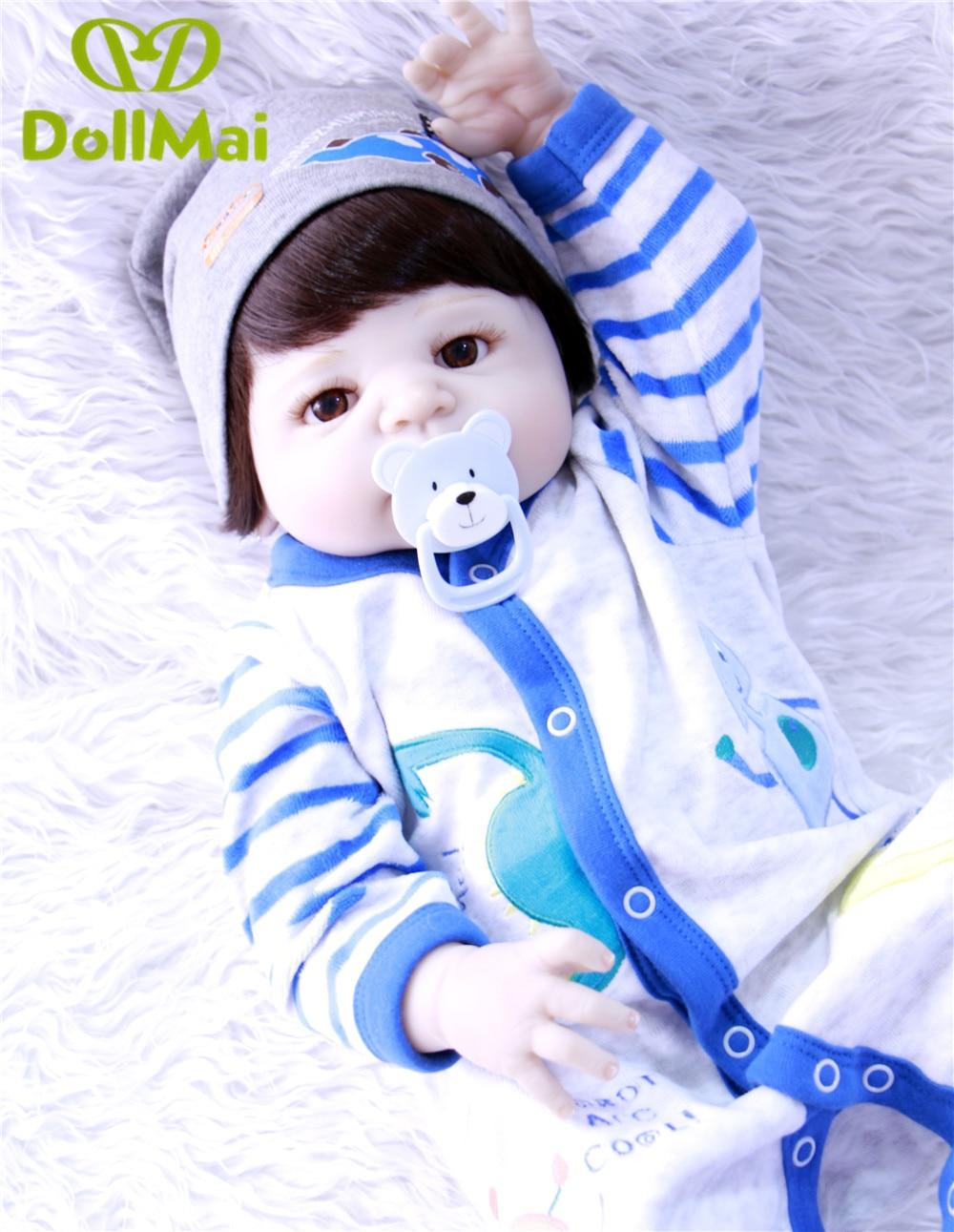 Красивые коричневые волосы девушкая силиконовая боди для новорожденных, для девочек куклы реалистичные новорожденных Детская кукла винил... - 5