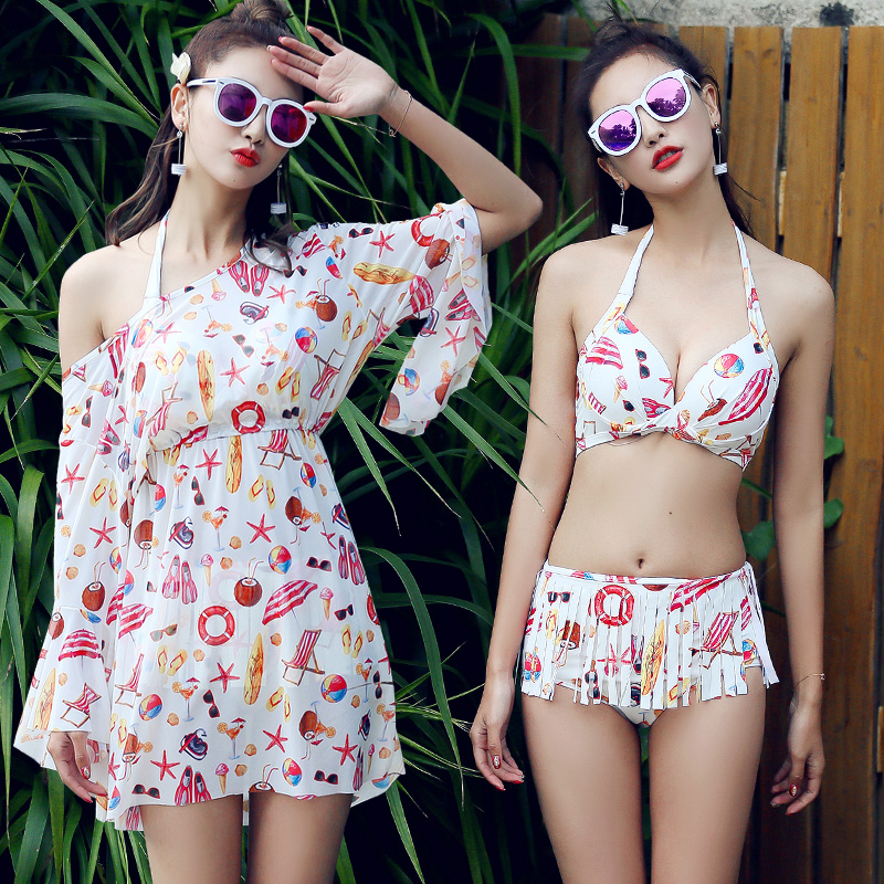 Swimwear Bikini Set Women Swimsuit Push Up Bikini Halter Biquini Skirt Tassel Bottom Bathing Suit Girl Swimwear biquine Dress new cute girls sexy bikini women swimwear push up bra biquini low waist mini skirt bottom agate jewelry bikini set swimsuit