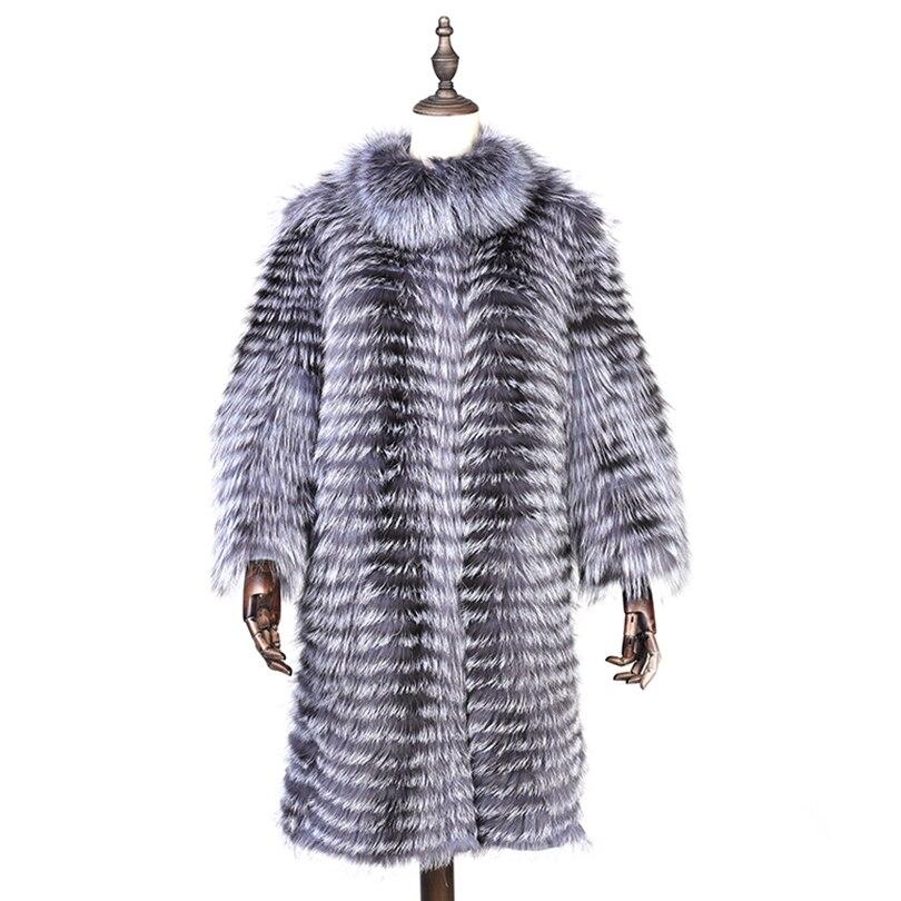 Hiver Dame Fourrure Coasf007 Femmes 2018 Mode Renard Réel Style Argent De Épais Angleterre Longue Manteau Naturel Chaud Extra 7qgA4