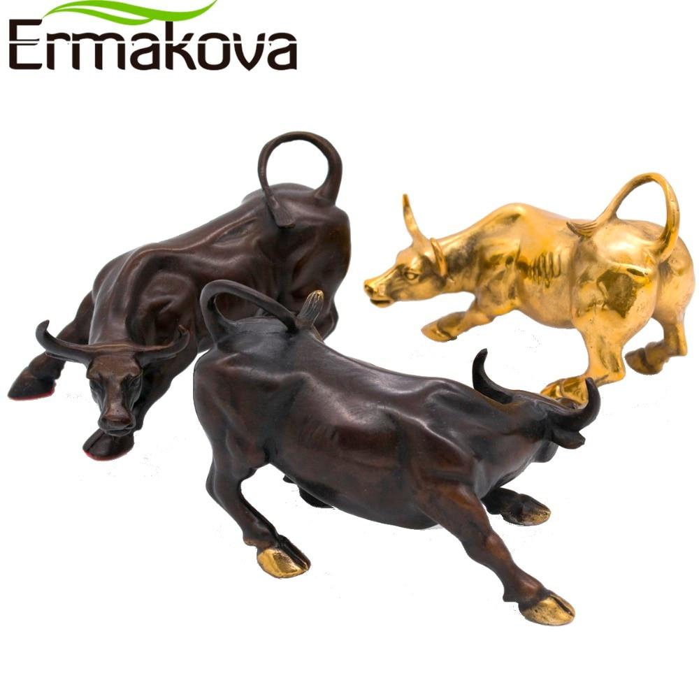 Ермакова 11,5 см (4,5 ) латунь Wall Street Bull Ox фигурка зарядки Фондовый рынок Bull статуя фэн-шуй Скульптура Украшения дома и офиса