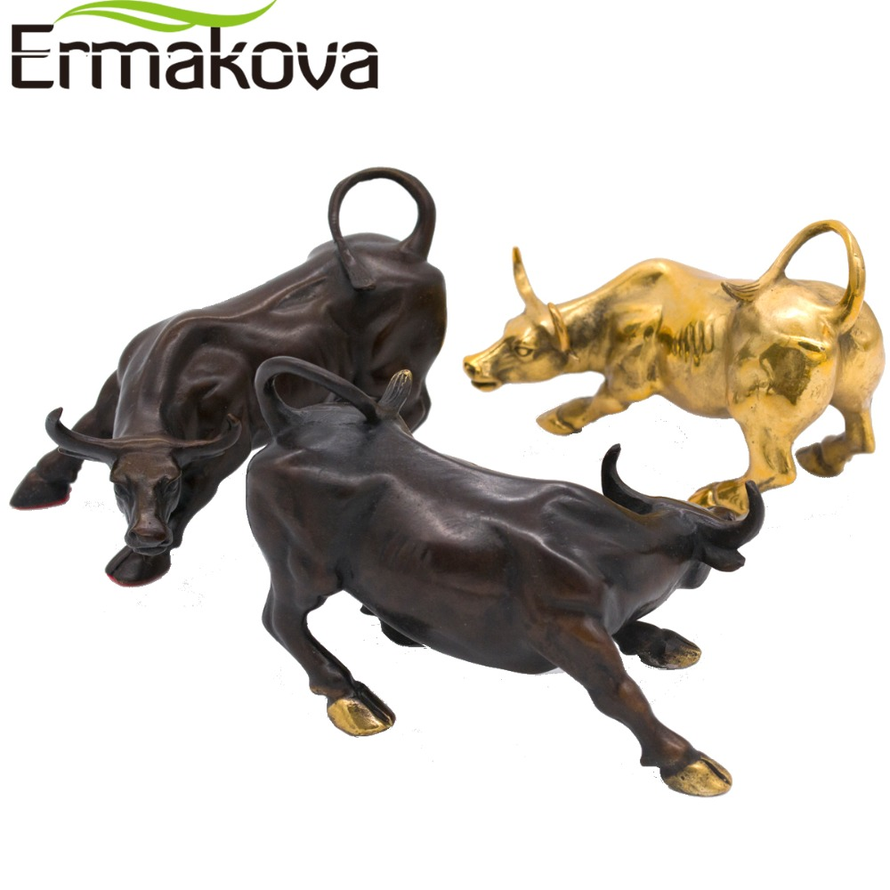 "ERMAKOVA 11.5CM (4.5 "") Laiton Wall Street Bull Ox Figurine Charge Stock Market Bull Statue Feng Shui Sculpture Home Office Decor"