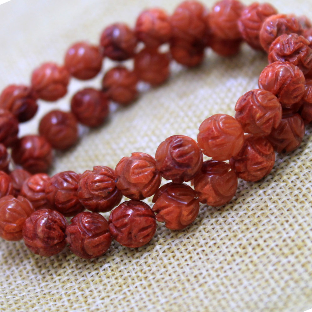 AAA+ Nartual Carving Lotus Originally Color Red Coral Stone Buddha Beads For Jewelry Making DIY Bracelet Necklace 8/10 /12 mm