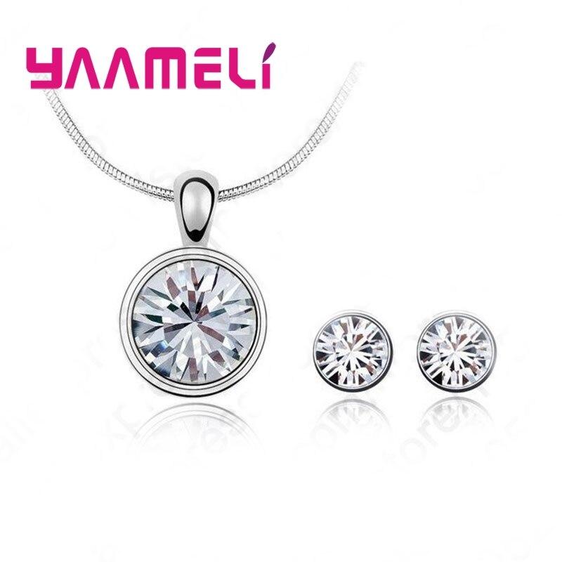 Best selling 925 Serling Silver Cubic Zirconia Necklace Pendant Earrings Fine Jewelry Sets Free Shipping in Jewelry Sets from Jewelry Accessories