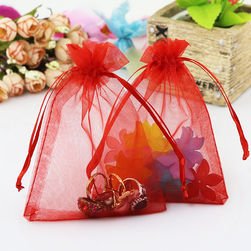 Wholesale 200pcslot Drawable Red Organza Bags 13x18cm Wedding Favor