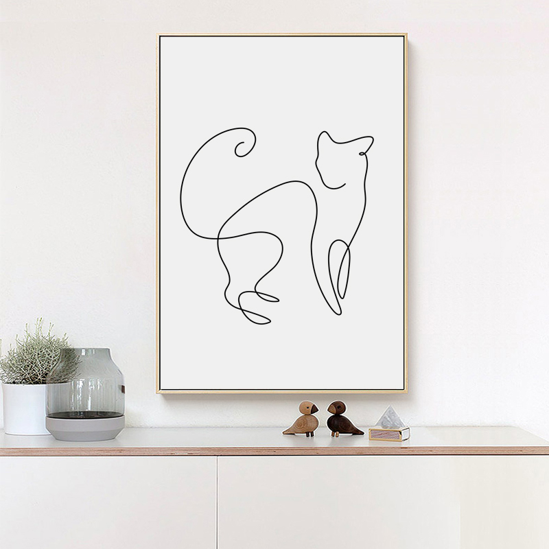 07G Minimalism Abstract Line Curve Cat Animal Canvas Art Painting Poster Picture Wall Living Room Bedroom Home Decoration Mural 20