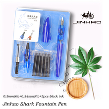 Jinhao Shark Fountain Pen Set Blue Ink Pen Creative Ink Pens For Writing Student Dedicated Words Positive Gesture Gift Pen