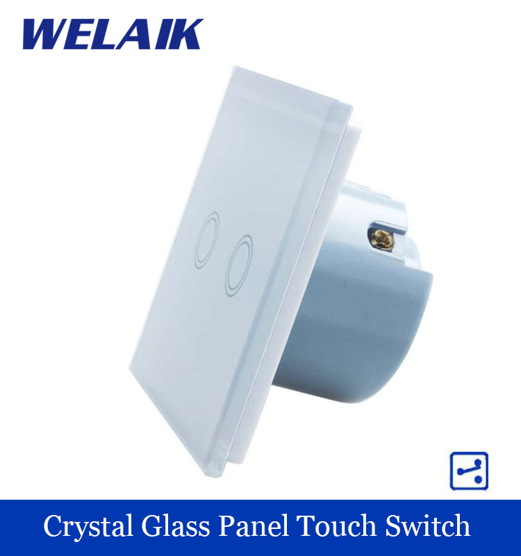WELAIK Crystal Glass Panel Switch White Wall Switch EU Touch Switch Screen Wall Light Switch 2gang2way AC110~250V A1922XW/B smart home eu touch switch wireless remote control wall touch switch 3 gang 1 way white crystal glass panel waterproof power