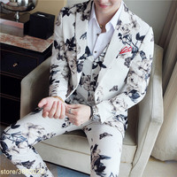White Suits Mens 2018 Terno Masculino Slim Fit Flower Mens Suits Slim Fit Red Lip Erkek Takim Elbise Club Outfits 3 Piece
