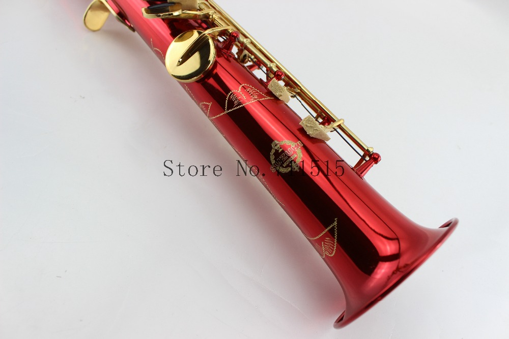 SUZUKI Cobre Vermelho Banhado Banhado A Ouro Bb Chave Saxofone Soprano Saxofone Soprano Reto Instrumento Musical Sax Com Caso