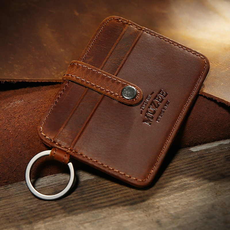 Muzee New Crazy Horse Leather Wallet Men Card Holder Small Folder Young Men's Leather Wallet