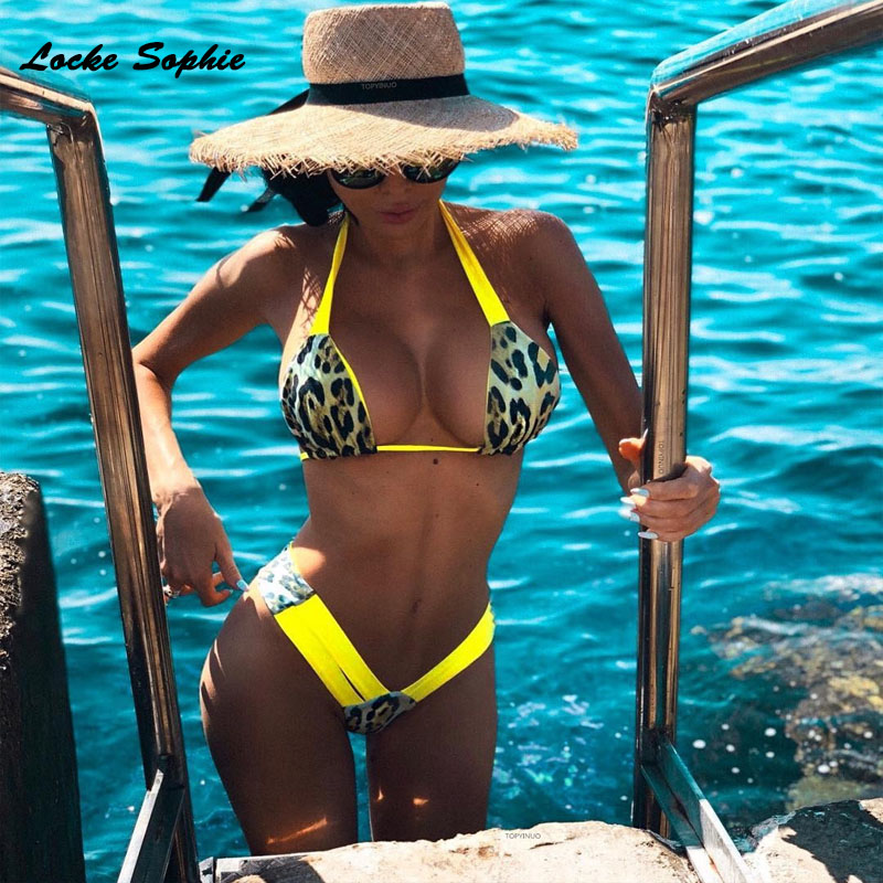 2piece set womens Sexy tops and shorts 2019 Summer cotton blend Splicing Prints super bikini suits set ladies Sexy suit twinset