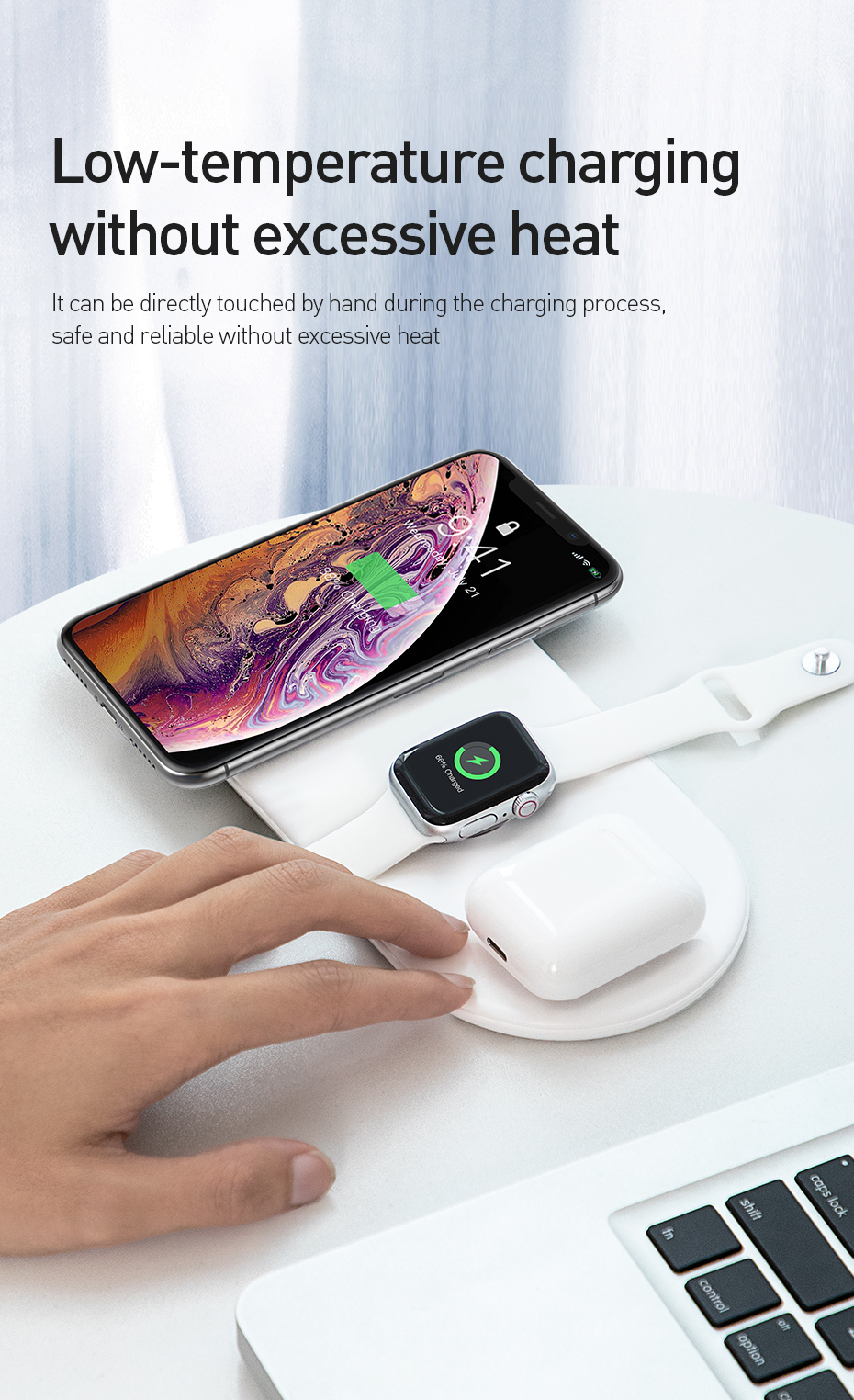 Baseus 3 in 1 Wireless Charger For iPhone X XS MAX XR 8 Fast