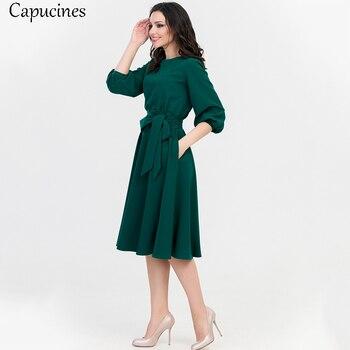 2019 verão vintage soild lanterna manga a-line dress mulheres elegantes o pescoço meia manga bolso caixilhos do joelho-comprimento vestido casual 1