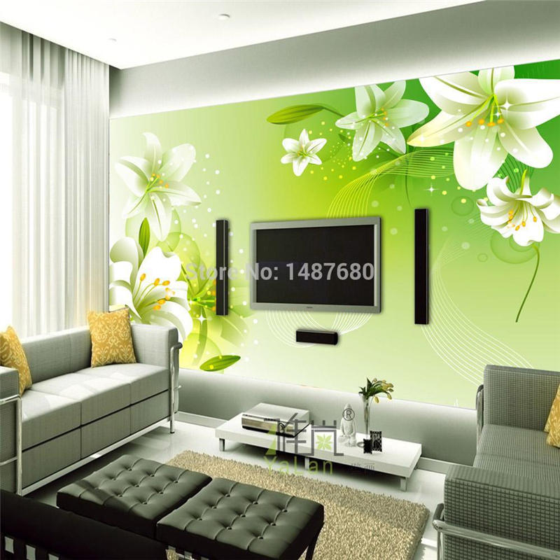 Beibehang fresh green lily flower custom photo wallpaper for Big wallpaper for wall