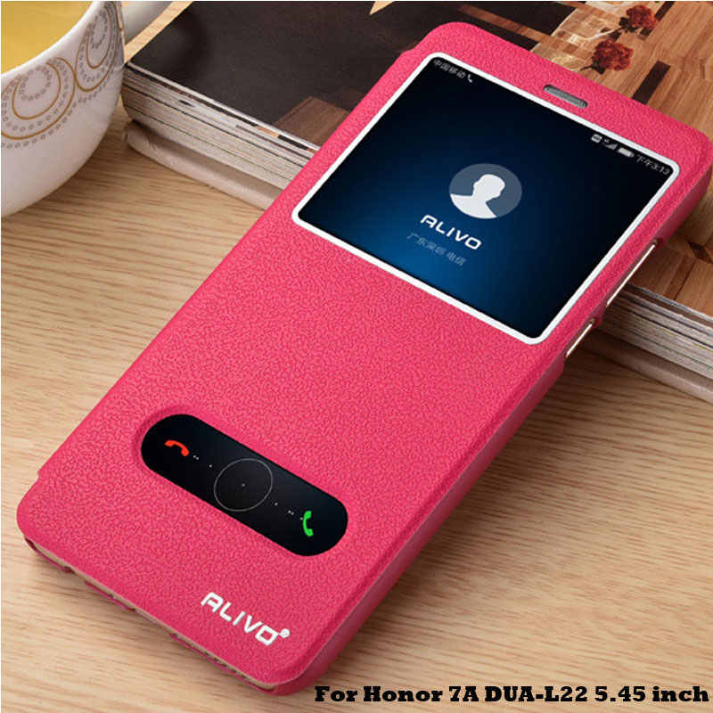 "For Huawei Honor 7A Case 5.45"" Luxury View Window PU Leather Flip Case For Huawei Honor 7A Cover Book Stand DUA-L22 Phone Cases"