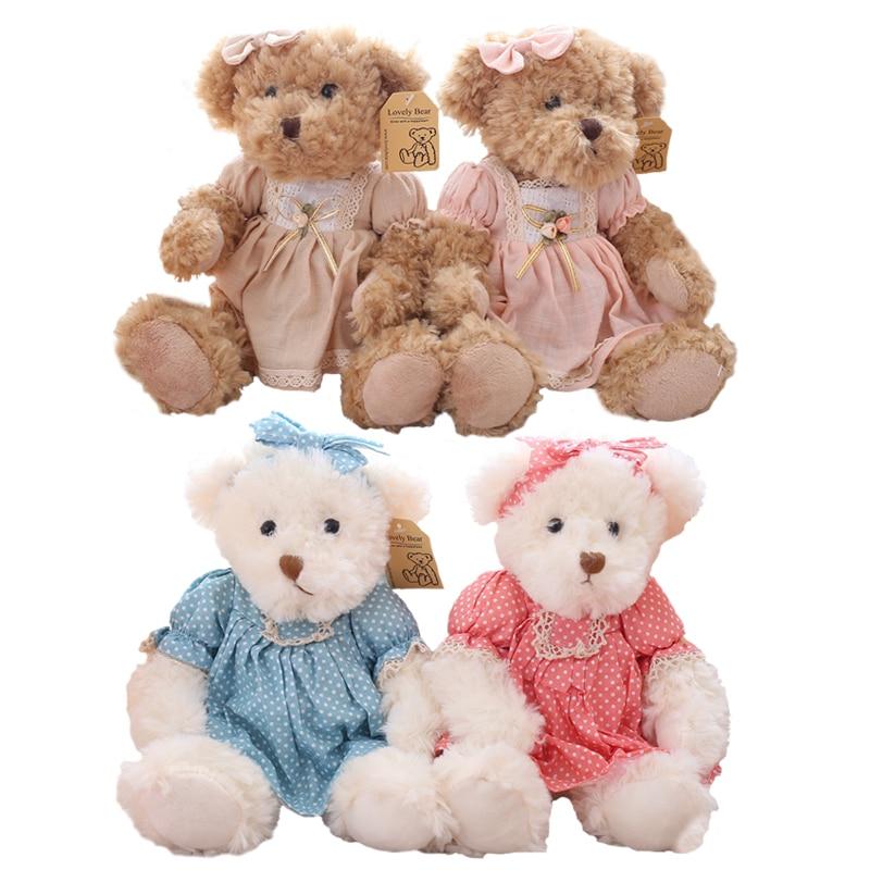 2 pcs/pair 26cm Lovely Couple Teddy Bear With Cloth Plush Toys Dolls Stuffed Toy Kids Ba ...