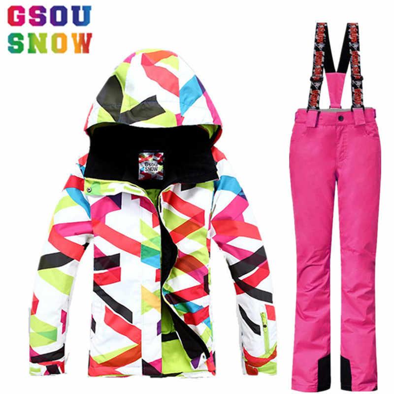 a8cf2544adaa Gsou Snow Brand Зимний Водонепроницаемый Лыжный Костюм для Женщин Лыжная  Куртка Брюки для девочек Сноуборд Куртка