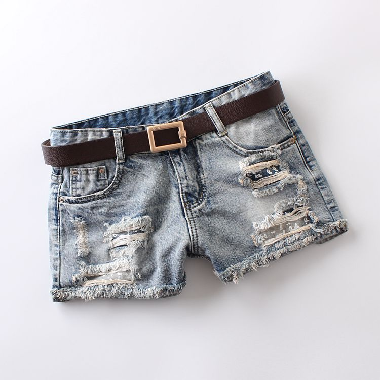 2019 Summer Women's Denim Shorts Mid Waist Light Blue Pockets Buttons Hole Printing Vintage Bleached Washed Button 100% Cotton Denim Shorts 8287