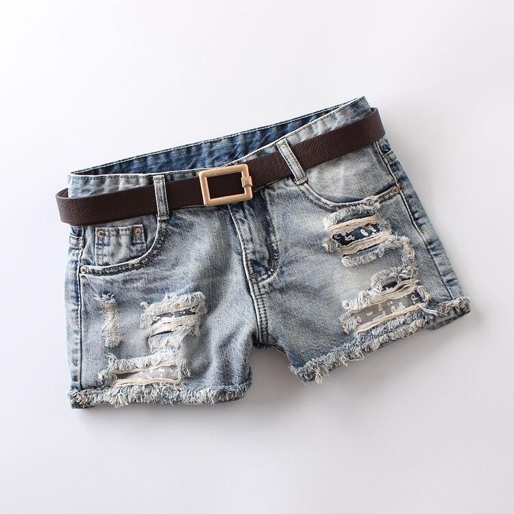 2020 Summer Women's Denim Shorts Mid Waist Light Blue Pockets Buttons Hole Printing Vintage Button 100% Cotton Denim Shorts 8287