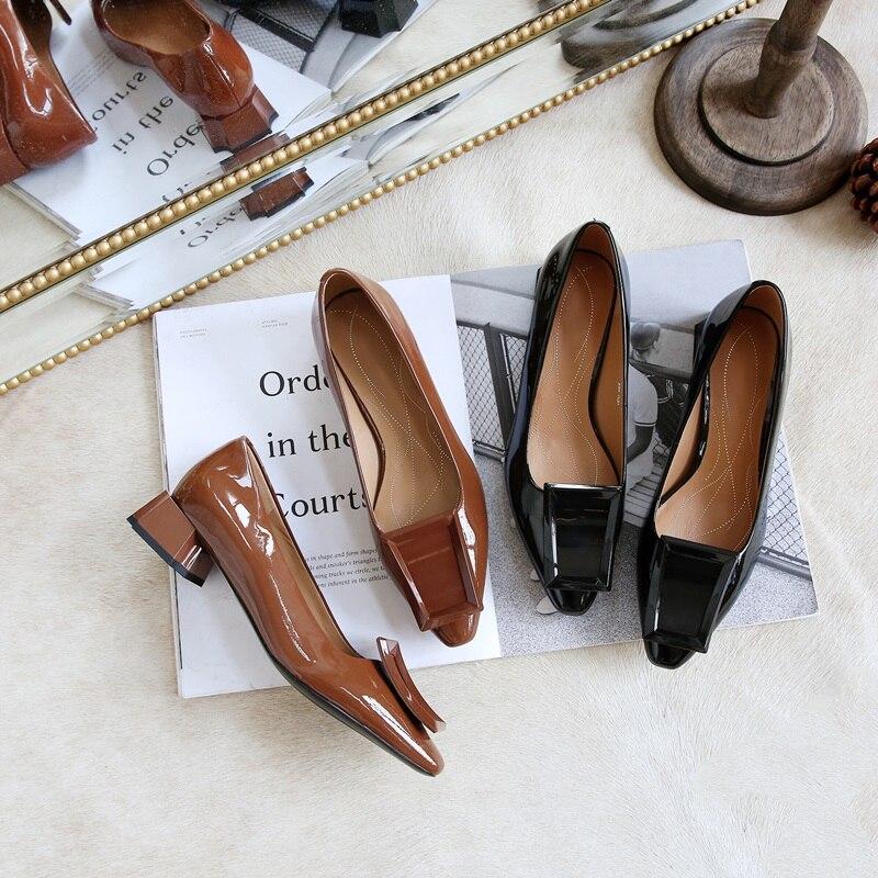 Femmes Carré Med coffee Mode Printemps En Cuir on Étrange Zvq Nouvelle Verni Sexy Slip Chaussures À Bout Black L'extérieur Style Plates Pompes apricot 5xBqv