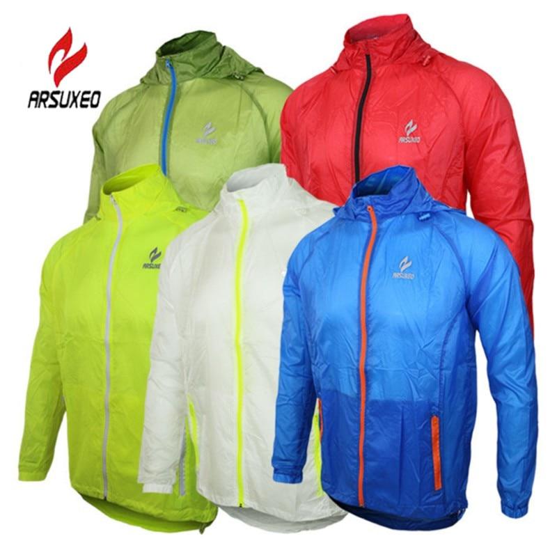 Цена за ARSUXEO Велоспорт Запуск Непромокаемую Куртку 5 Цвета Ветрозащитный Спорта На Открытом Воздухе Летом Солнцезащитный Крем MTB Велосипед Джерси Quick Dry Плащ