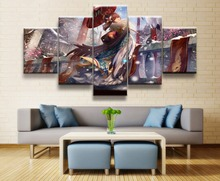 kimono girl animation 5 Piece HD Print Wall Art Canvas For Living Room Decor Painting On Decoration