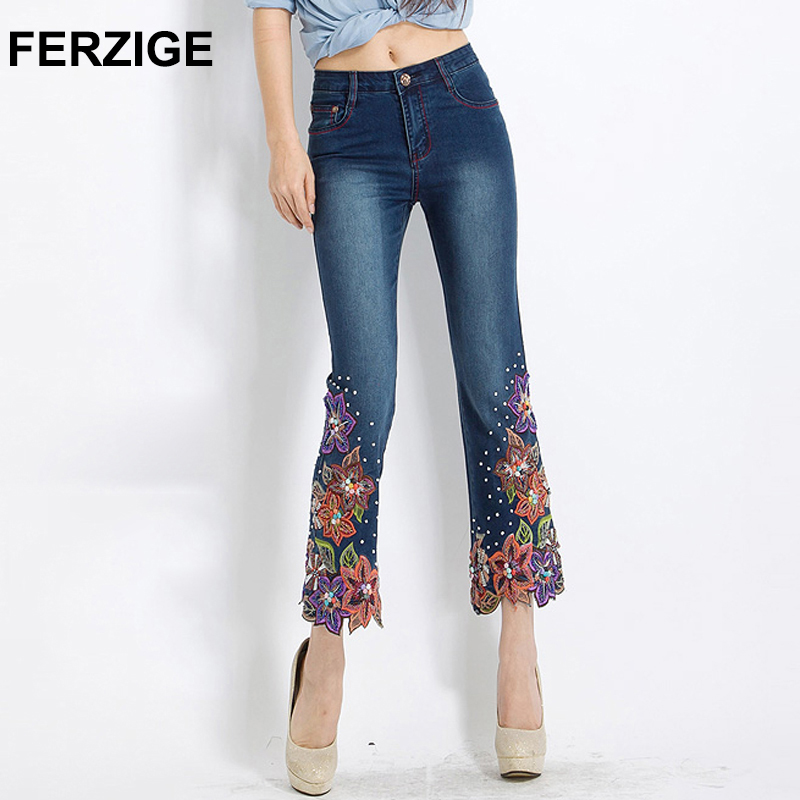 FERZIGE Women Jeans Embroidered Flares Bell Bottom High Waist Woman Dark Blue Stretch Slim Denim Pants Hand Beads Femme Mujer 36