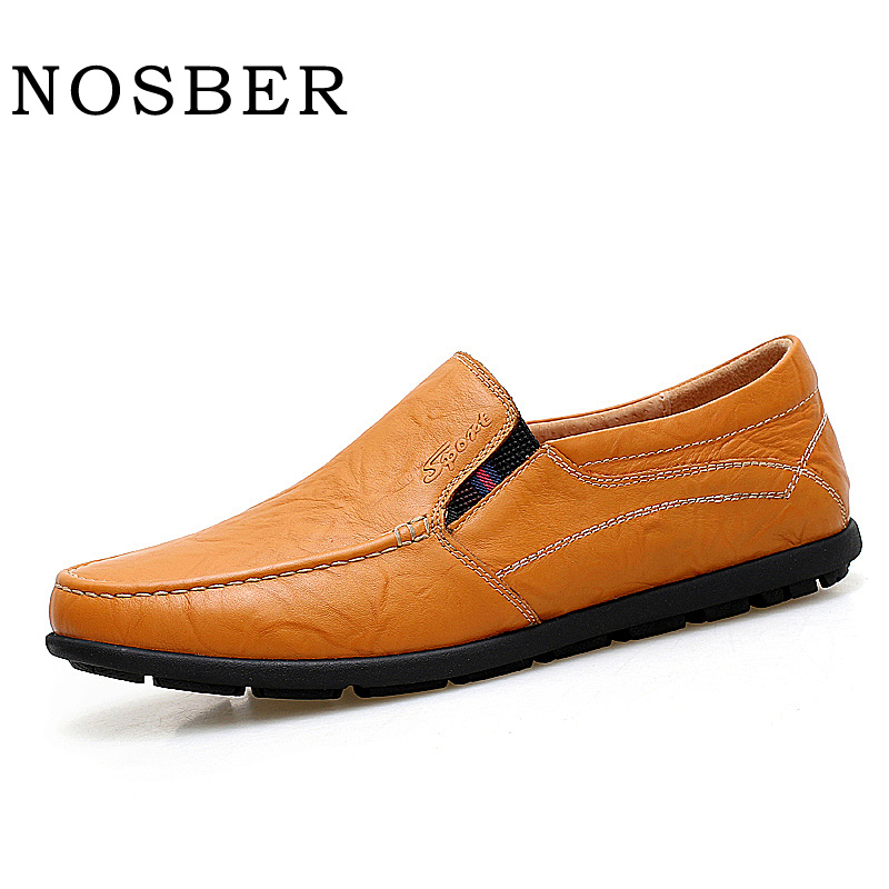 NOSBER 2018 New Genuine Leather Casual Shoes Fashion Cow Leather Flat Shoes Slip on Soft Moccasins Men Loafers S 2017 new spring imported leather men s shoes white eather shoes breathable sneaker fashion men casual shoes