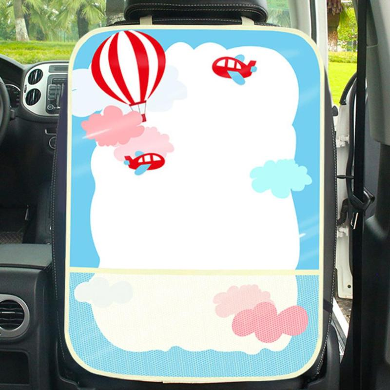 Cartoon Car Seat Back Protector Cover For Children Kick Mat Mud Car Seat Covers Anti Child Kick Covers+Net Pocket Storage Bag