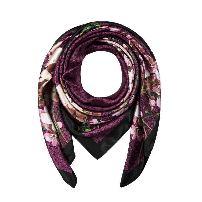 Evrfelan bufanda 2019 elegante mujer grande cuadrado seda bufanda impresa, chal de seda de 90x90 cm de moda primavera y otoño