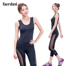 Cooling Mesh Lady Yoga set V neck tank top Sportswear Women Slim Leggings Sports Studio Fitness
