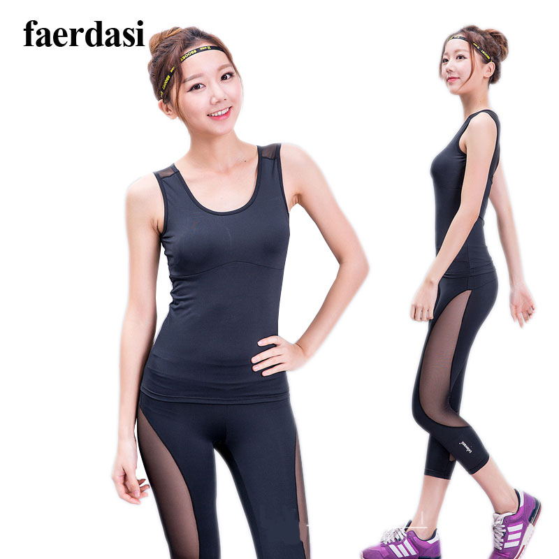 Cooling Mesh Lady Yoga set V neck tank top Sportwear Women Slim Leggings Sports Studio Fitness