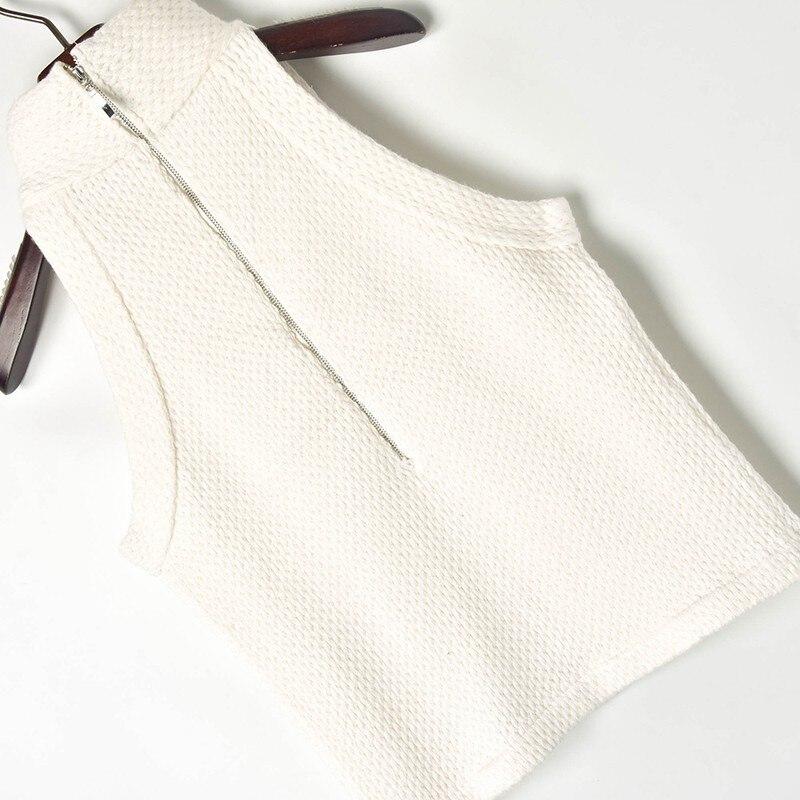 Gilet Noir Dames Solide Nouvelle Crop Mode Simplement Boutons Tee Tricoté col blanc 2019 Demi Chic Sans Manches Sping Top Femmes Réservoir Pull BUUwW6xZRq