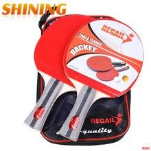 8020 встряхивание-рукоятка с длинной ручкой Настольный теннис ракетка для пинг-понга весло с бугорками резиновая ракетка для пинг-понга с сумкой Настольный теннис