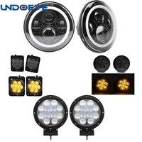 Undoeve For 07 17 Jeep Wrangle 7 Round Led Headlight + 4D 7inch 60W Led Work Light & Amber Fender Side Maker Lights