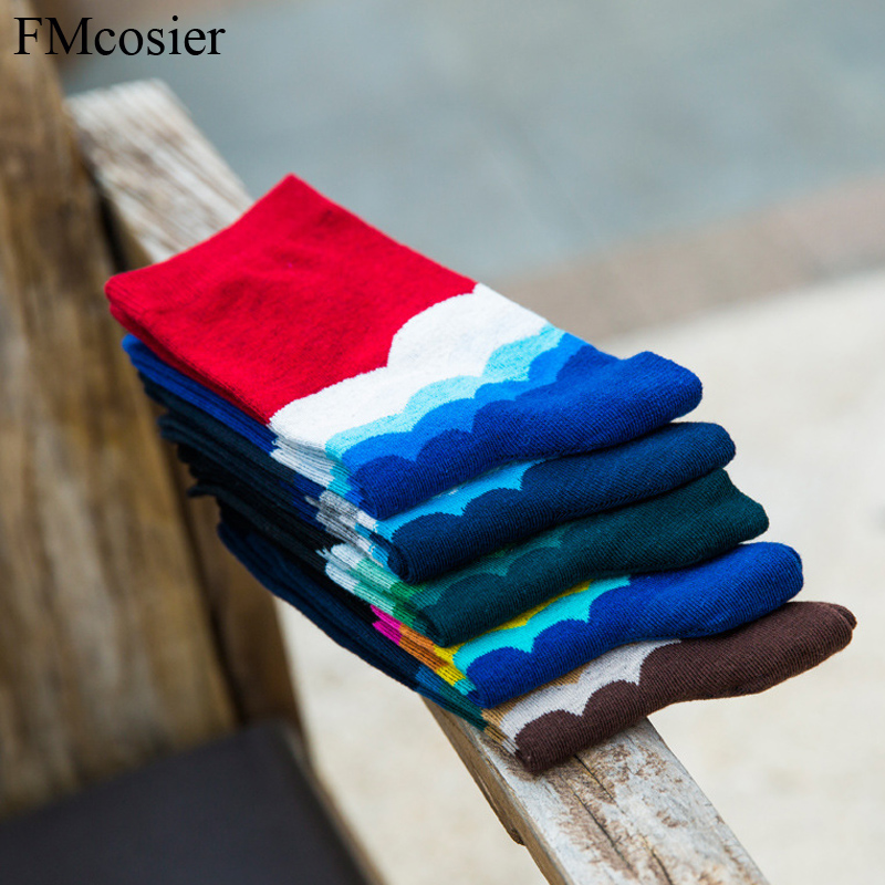 5 Pairs Summer Fashion Cotton Male Casual Happy Socks Men Colours Funny Art Socks for Mens Socken With Print Calcetines Sox New