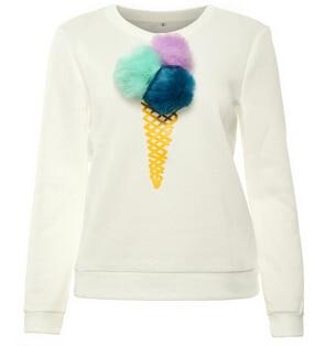 Donna Ice Top Donne Di Felpa Cotone Maglione Colorful Cream Pullover 8I8drZqwxH