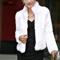 XIKOI Casual Furry Faux Fur Coats Women Fake Fur Coat Female Short Coat 2018 Winter Clothing Party Black Fur Overcoat