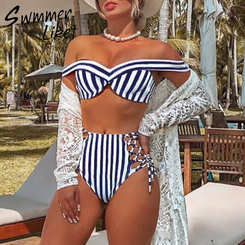 Striped swimsuit women High waist bikini set Off shoulder swimwear 2019 Lace up bathing suit Sexy two-piece suit Push up bathers