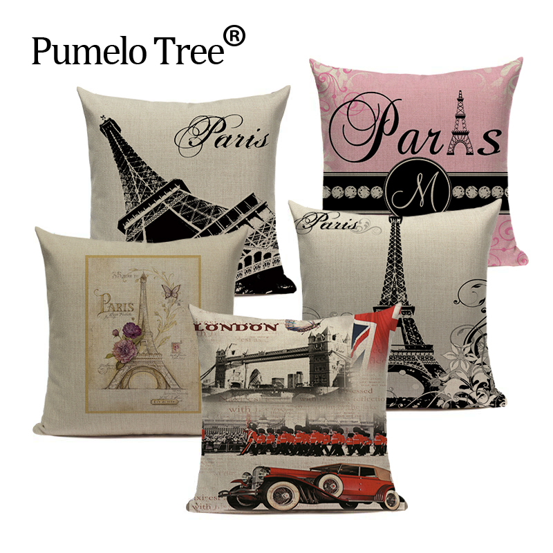 Лондон декоративные печатные подушки для дома Чехлы Лондонский мост Париж Эйфелева Подушка с башней дропшиппинг подушка