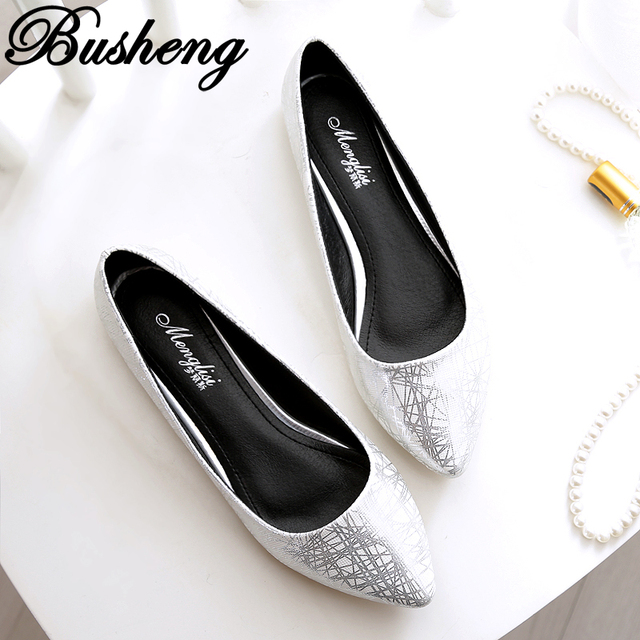 New Arrive Womens Bridal Flats Ladies Wedding Shoes Silver Gold Ballerina Shoes Size 34-43 Classical Shoes Women sapato feminino