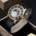 Sewor relojes de caballero de marca 2017 de la moda de oro de lujo del hombre mecánico automático reloj deportivo de cuero de negocios reloj wathes
